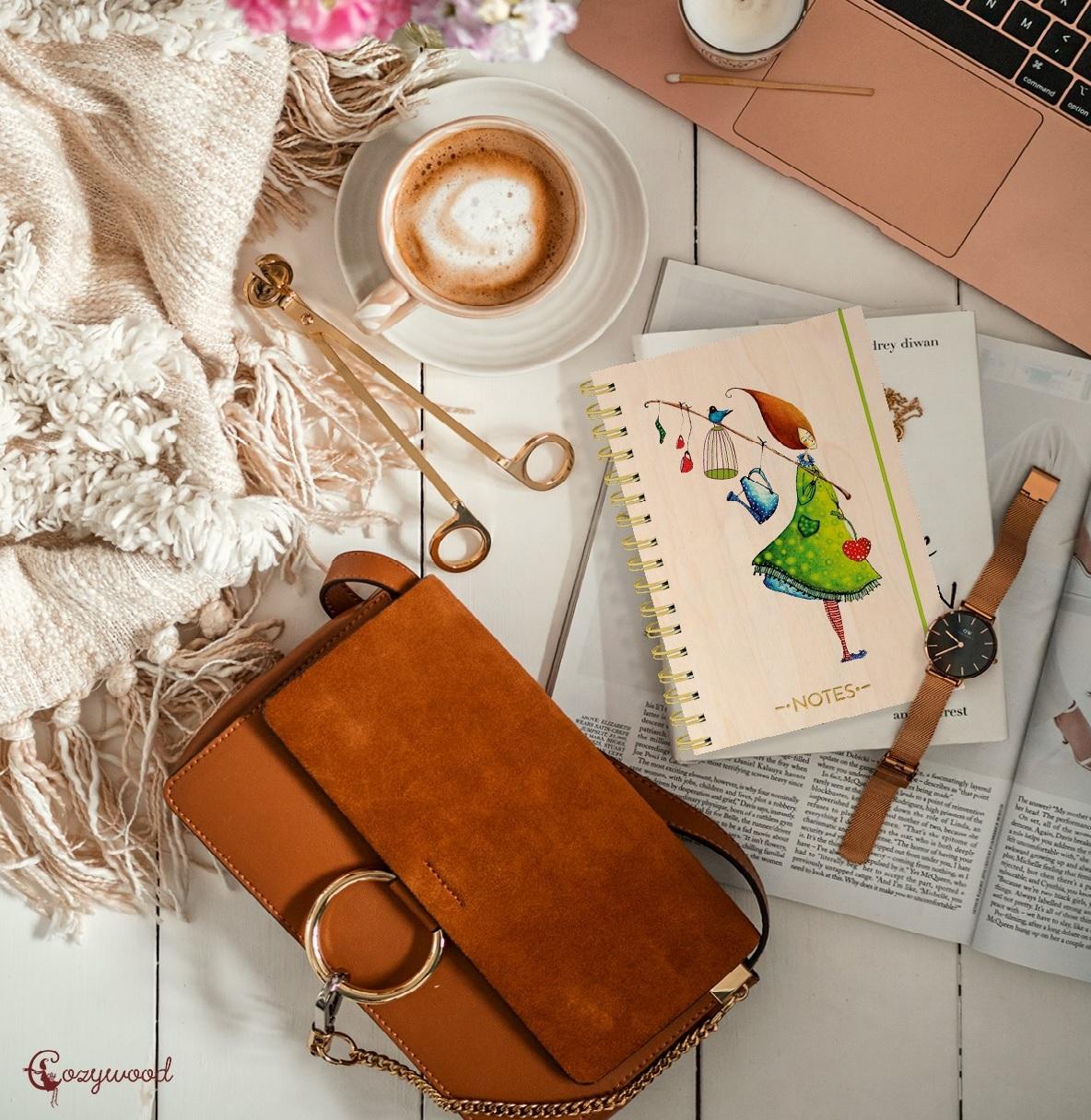 Notebook(wooden cover) (木製カバーのミニノートブック)